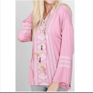 Western embroidered feather detail top dusted pink
